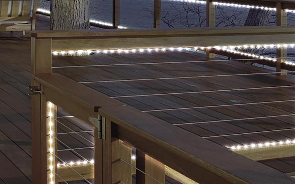 rail lighting on a deck