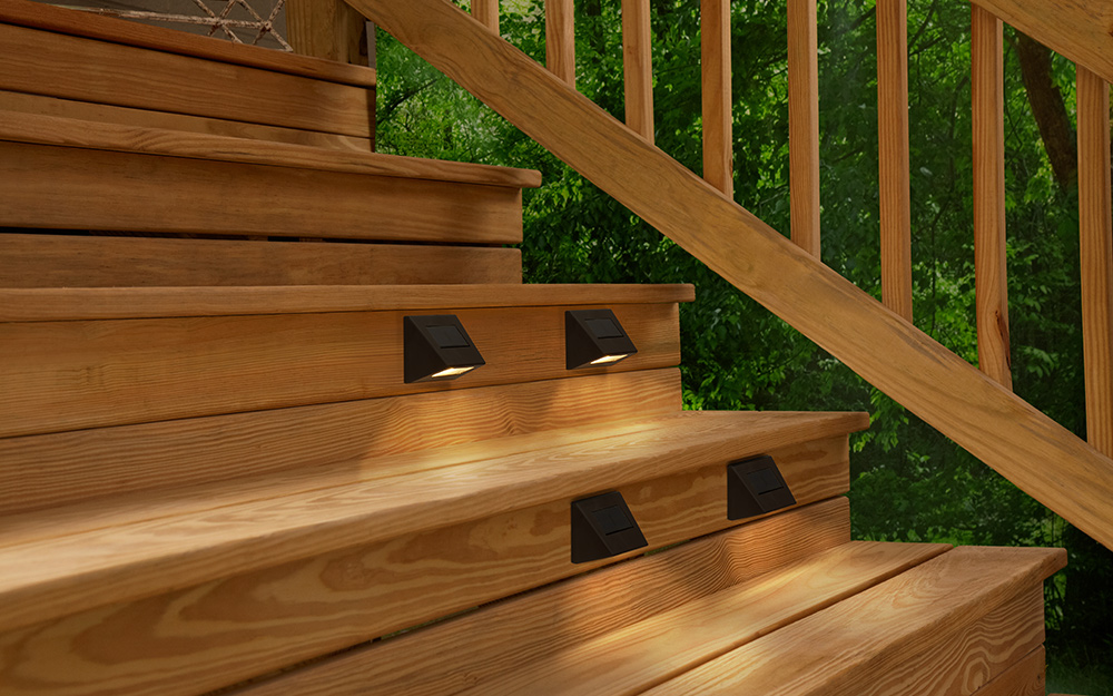 floor and stair lighting on a deck