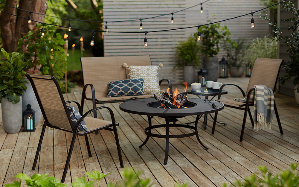 string lights on a deck