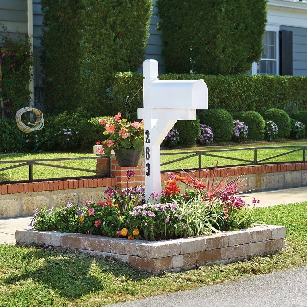 Flowers surrounding a mailbox