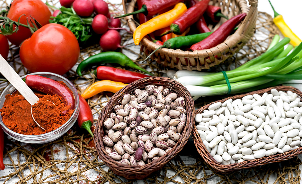 Various ingredients such as peppers and beans.