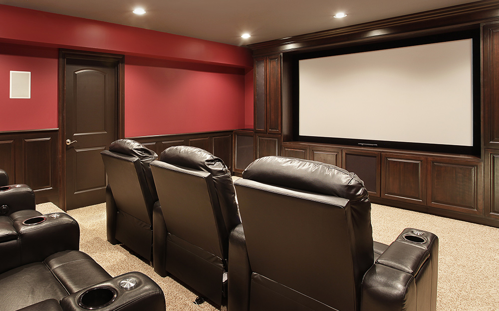 Man Cave Ideas - The Home Depot Bat Cave Home Theater Design Idea on home theater screen wall design, home theater sunken ship, home theater star wars, home theater man cave decor,