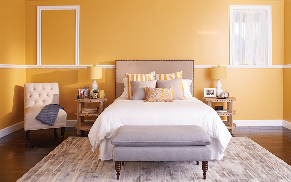 Master bedroom with a painted ceiling.