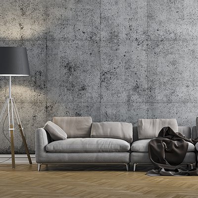 A grey sofa in a modern minimalist style living room.