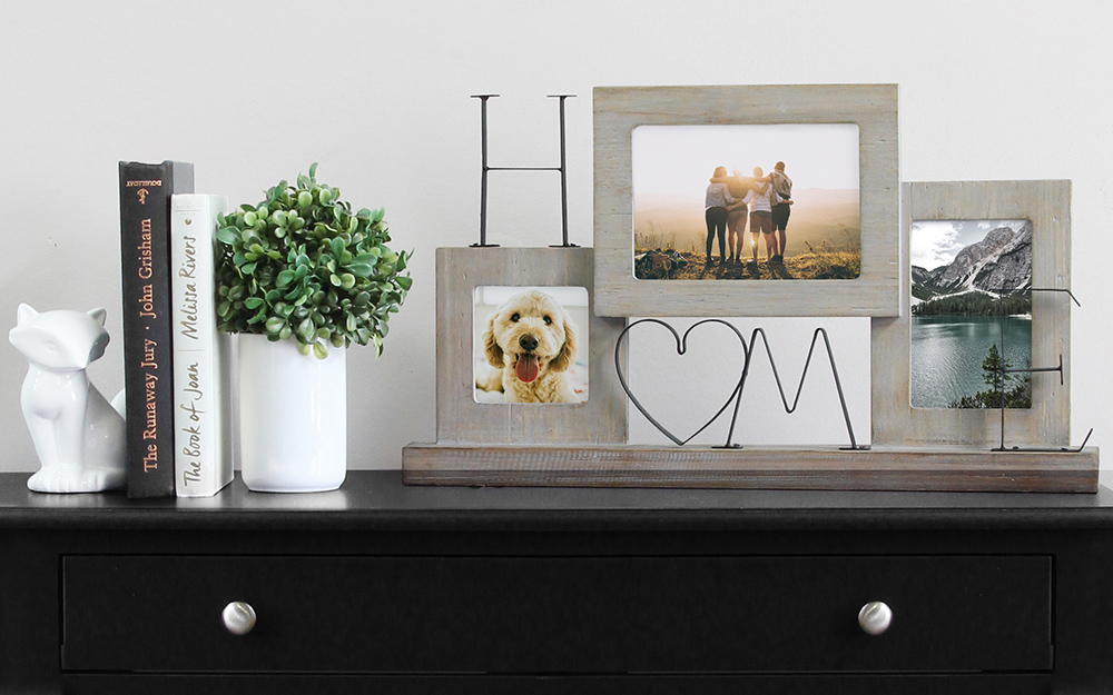 A collection of decorative picture frames given on a tabletop.