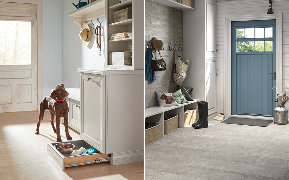 Side-by-side images of mudroom flooring