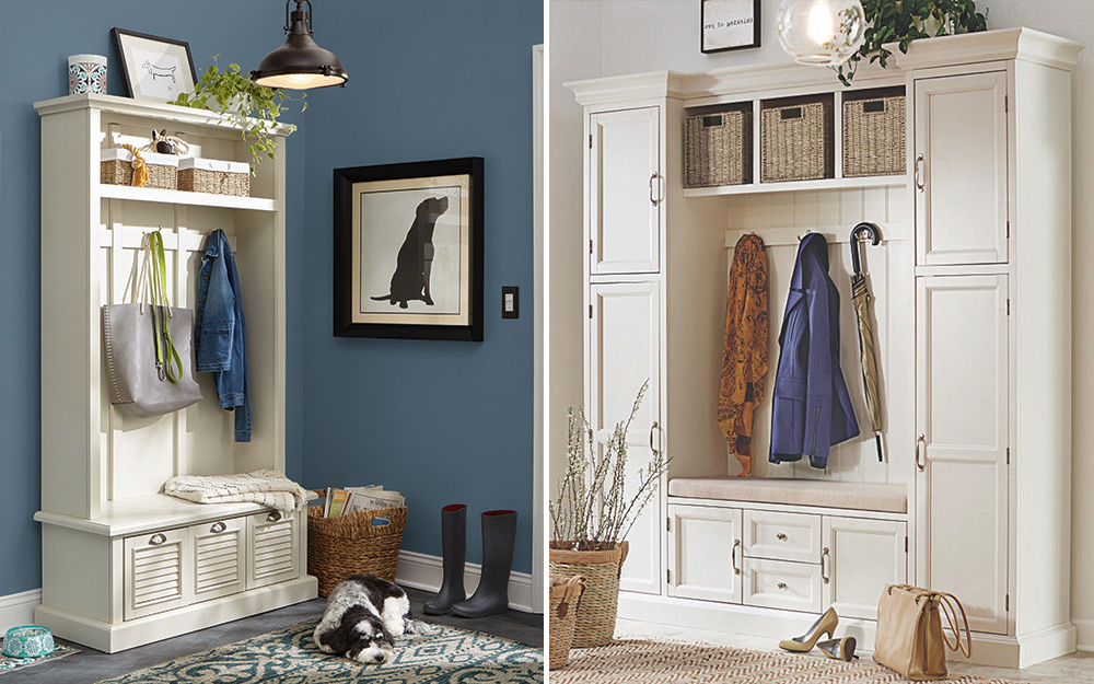 Side-by-side images of mudroom organization