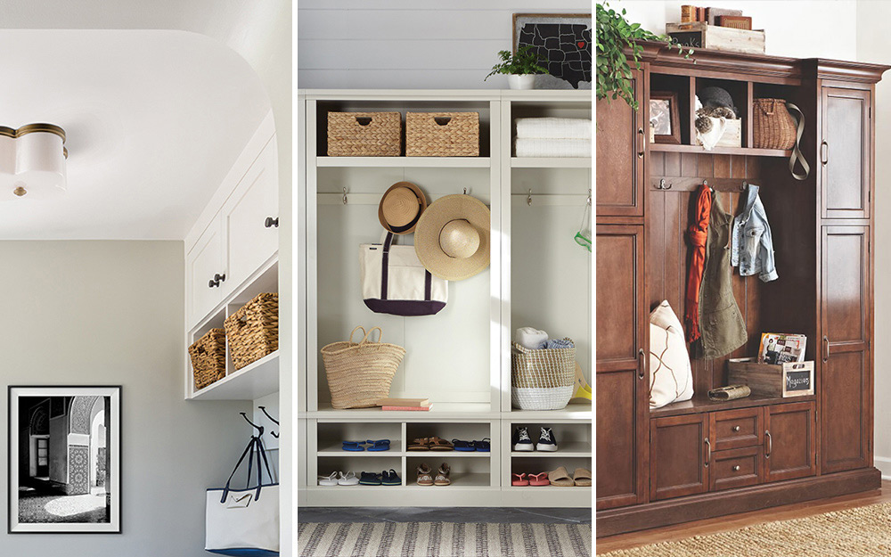 Three side-by-side images featuring mudroom decor options