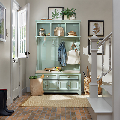 A well-organized mudroom
