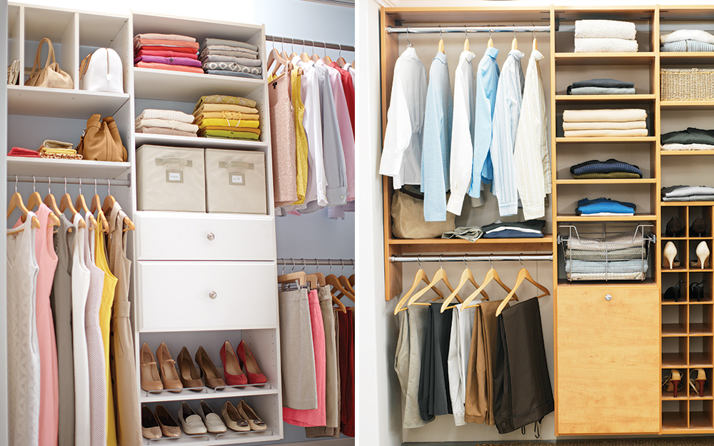 Two side by side images of open closets with organized wardrobe storage
