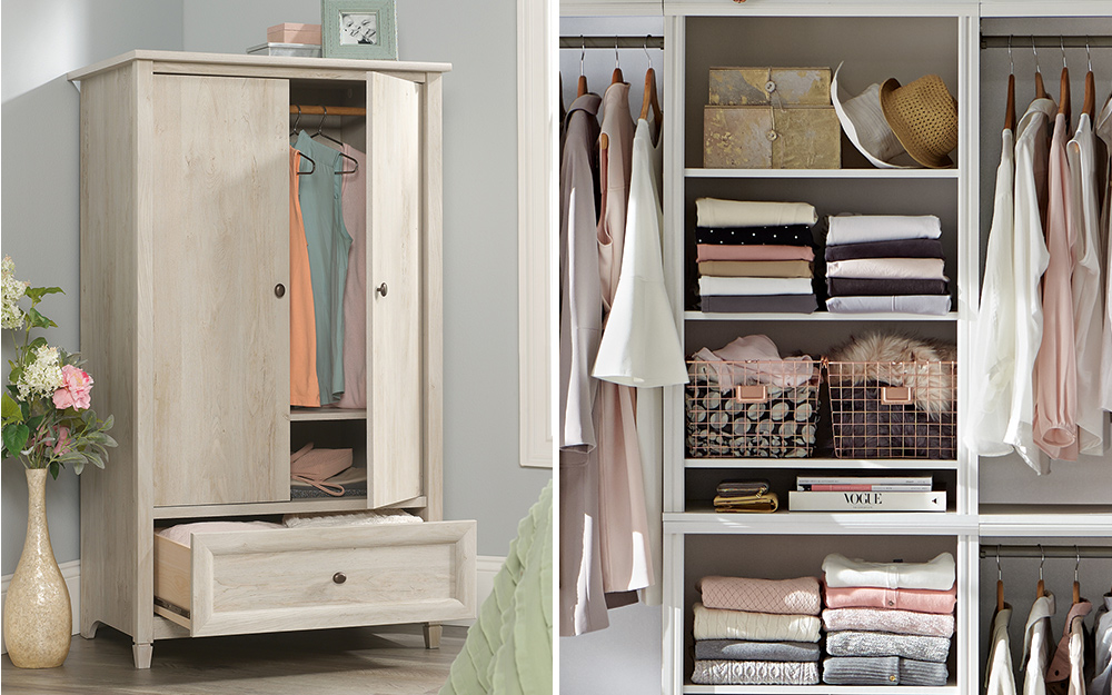 An armoire with clothing storage and an open closet showing an organized wardrobe