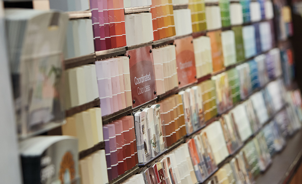 Paint chip samples on a display.
