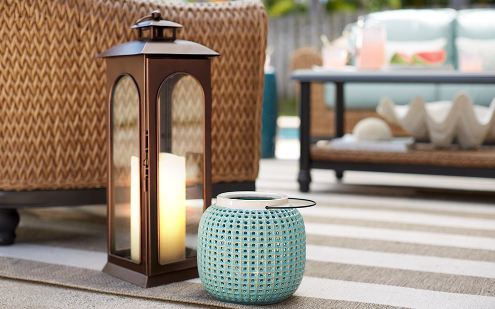 Lanterns and other accessories on a patio.
