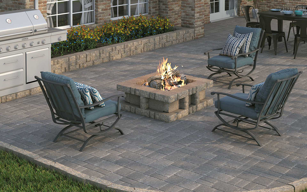 A Backyard With Decorative Patio Pavers