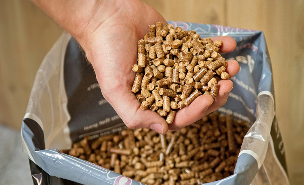 A person holding wood pellets that serve as fuel for a pellet grill.