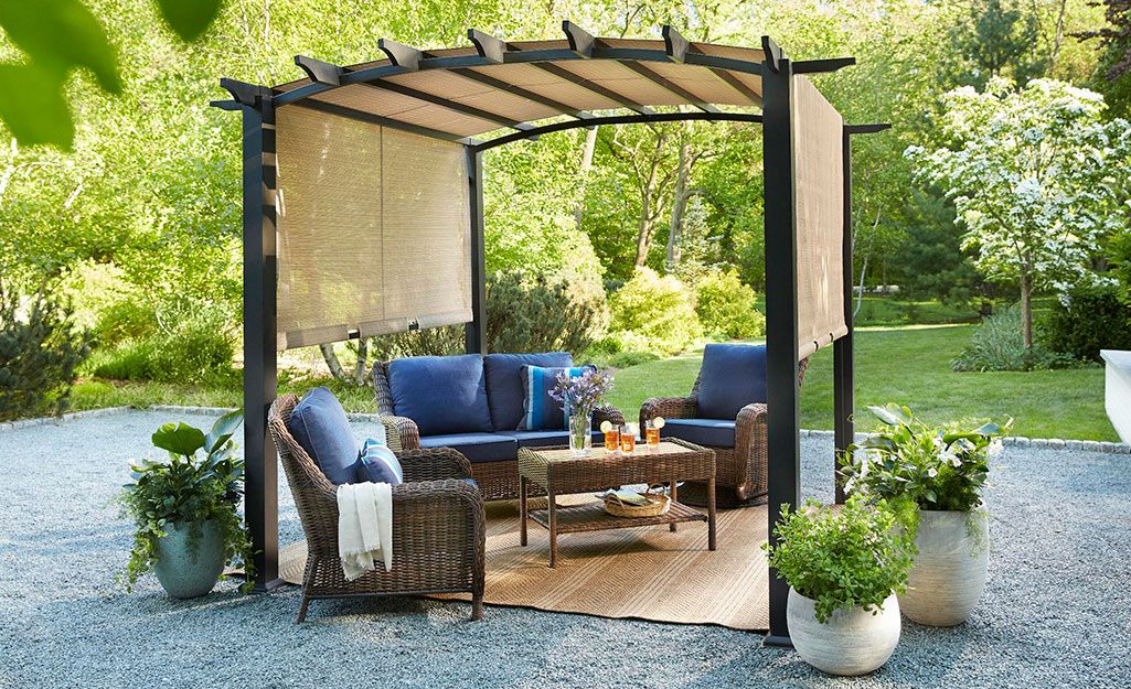Pergola with adjustable slide canopy for small spaces.