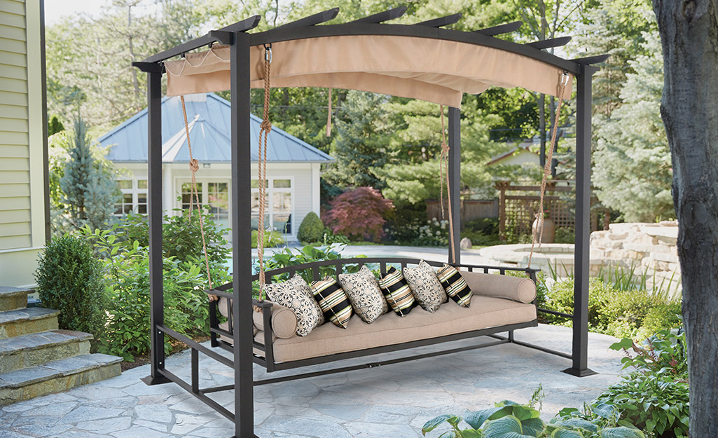 Pergola with a swing.