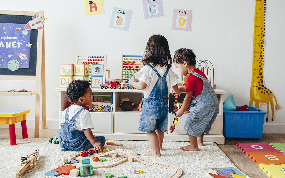 Kids playing in a playroom.
