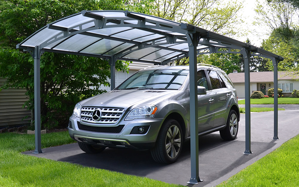 Polycarbonate panel roofing on a carport.