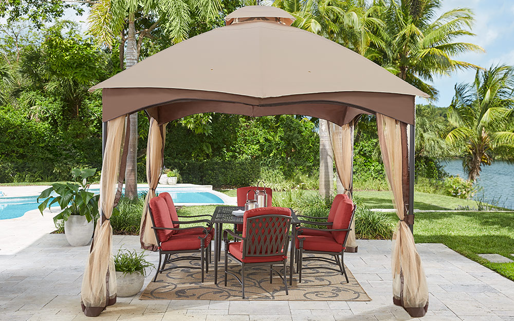 poolside canopy with outdoor dining set