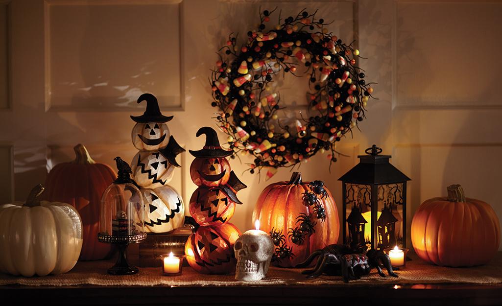 A display of artificial Halloween decor.
