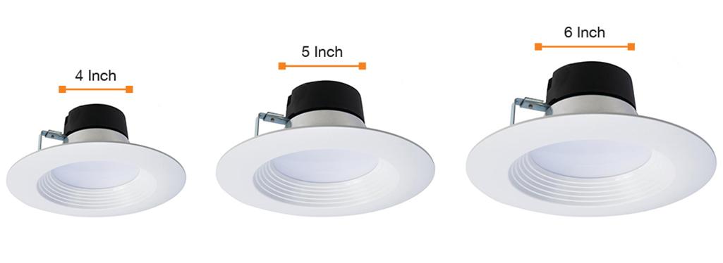 Bảng so sánh kích thước của đèn chiếu hậu 4 inch, 5 inch và 6 inch.