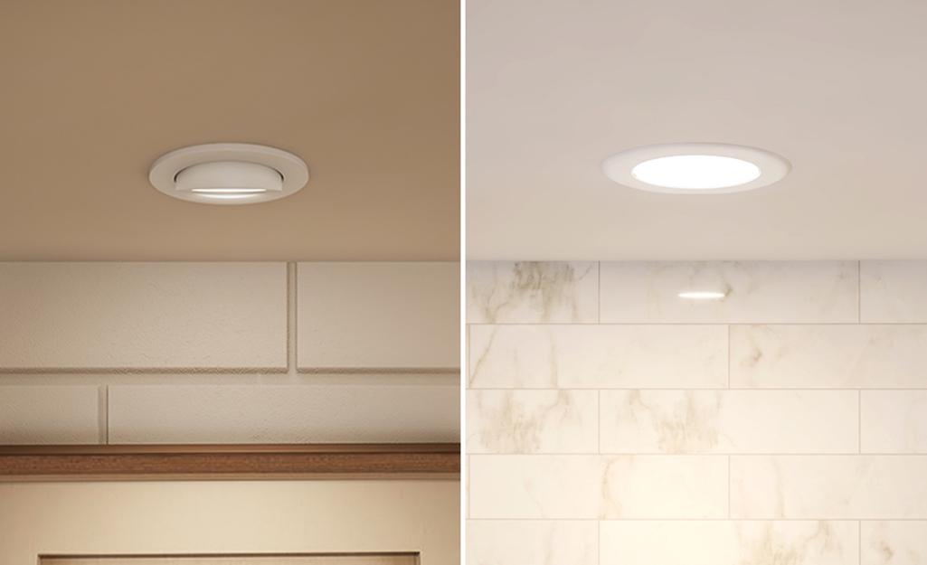 Đèn chiếu lõm bên trái so với đèn chiếu sáng ban ngày ở bên phải.