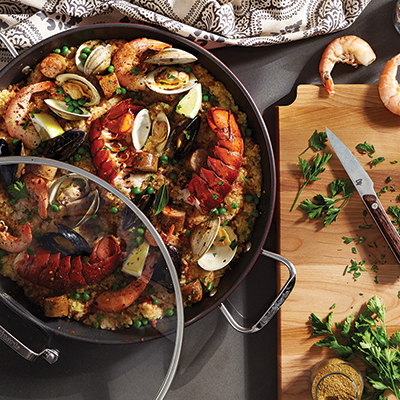 Recipe: Make Paella with Seafood, Sausage and Chicken