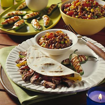 Recipe: Steak Fajitas with Grilled Bell Peppers and Portobello