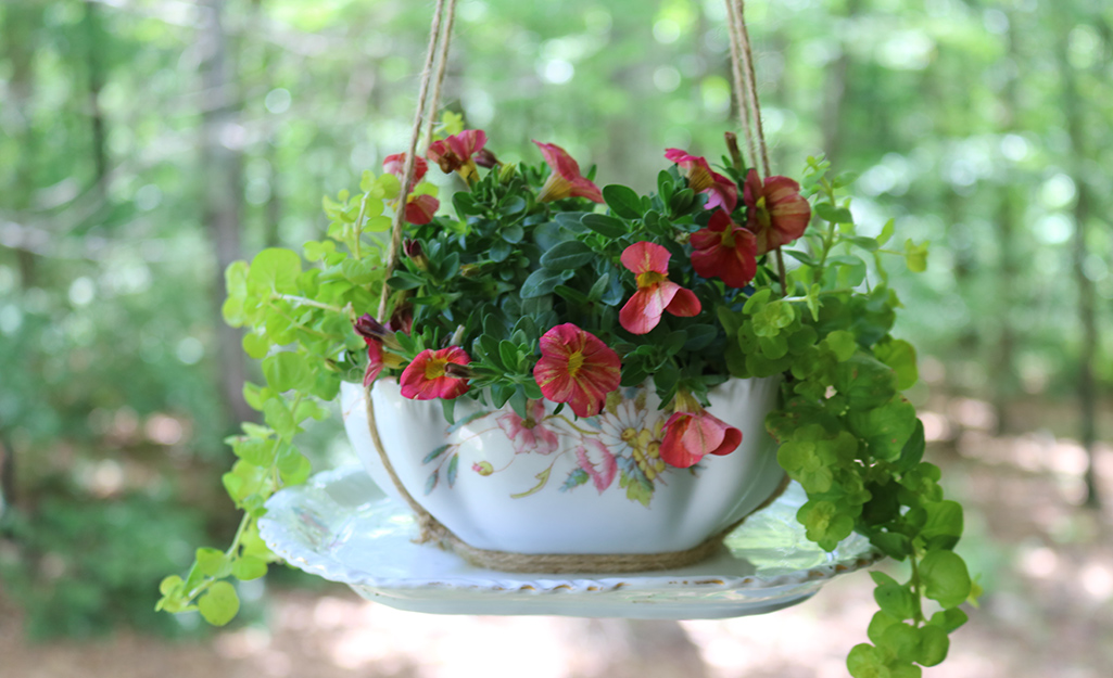China gravy boat filled with flowers