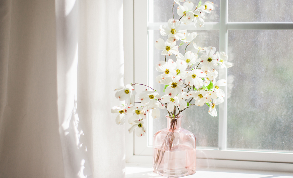 Blooming dogwood branched in a pink glass vase.