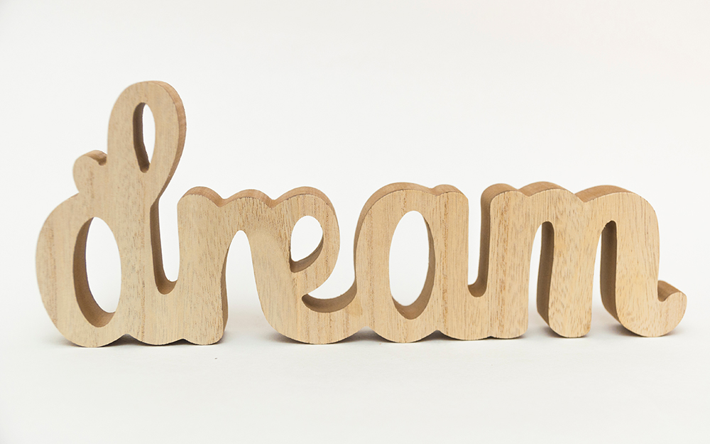 cursive, wooden word art dream