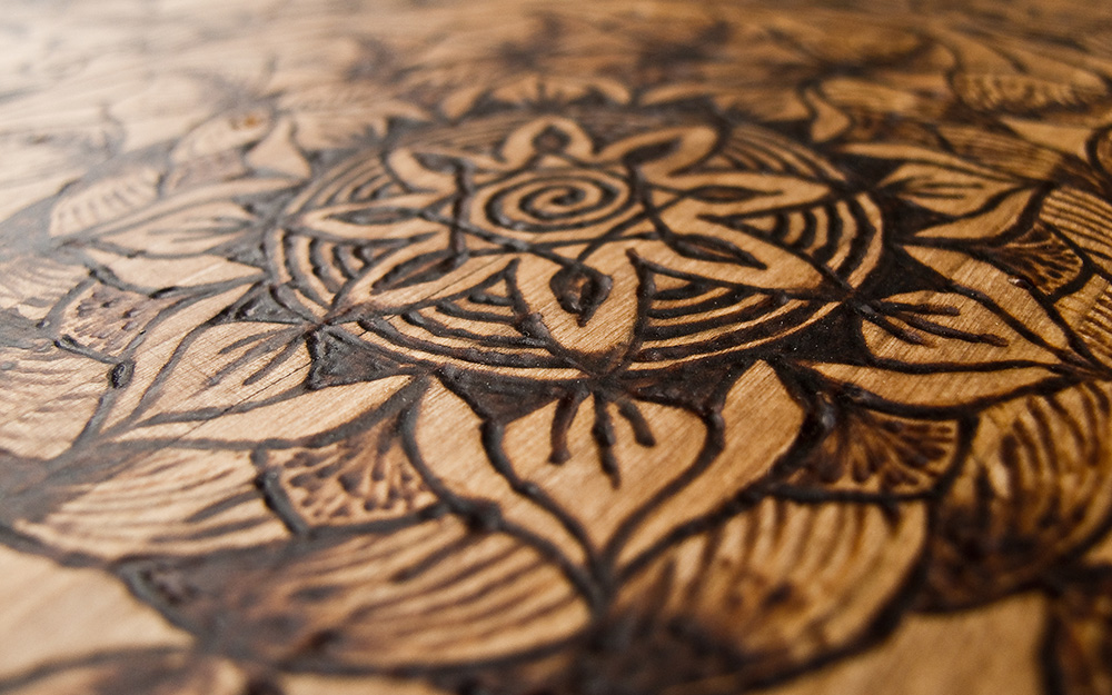 wooden flower art and silhouette design