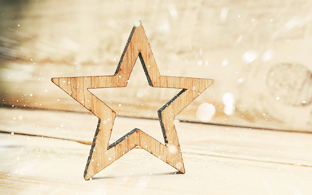 wooden art shape star