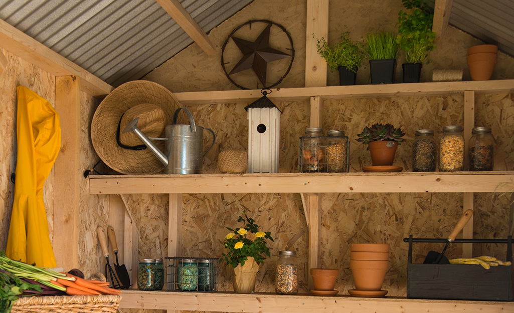 Interior of shed with shelf storage