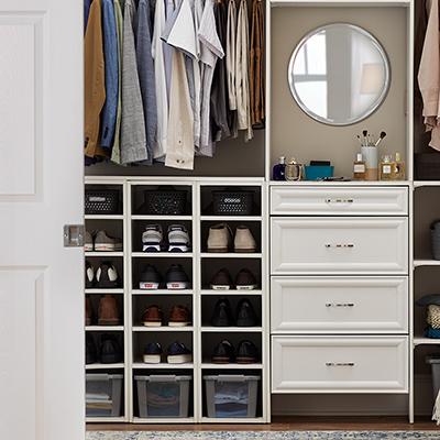 A closet with organized shoe storage