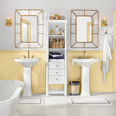 Two pedestal sinks and bath storage tower