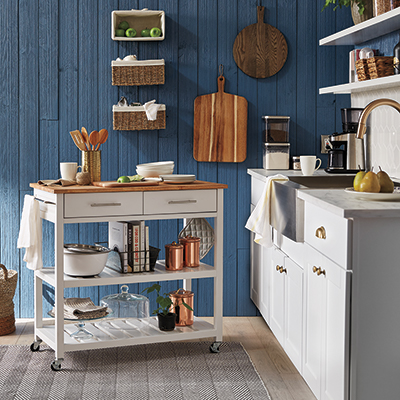 A small kitchen with a kitchen island