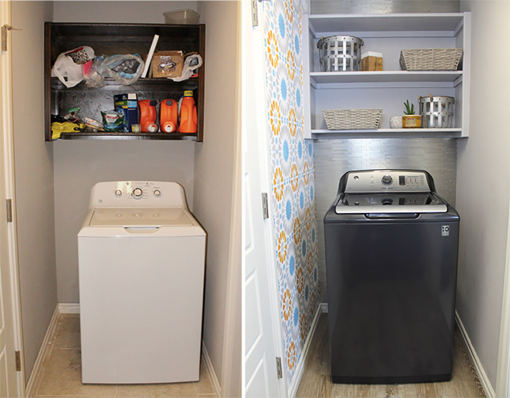 The before and after of a small laundry room makeover with GE appliances.