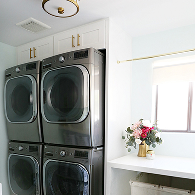 Small Space Laundry Room Makeover With Stackable LG Laundry Pairs