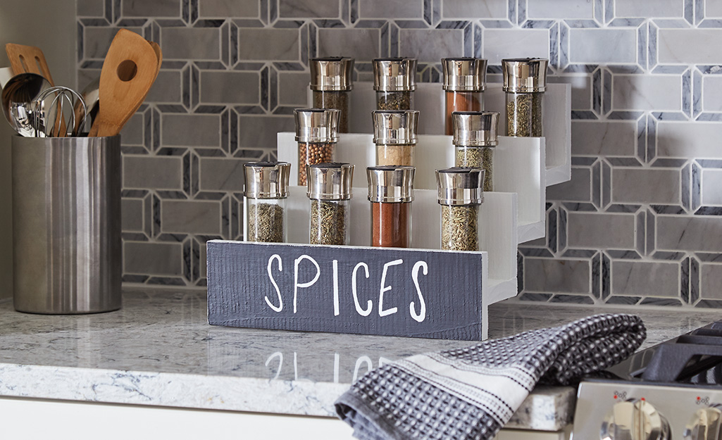 A DIY spice rack on a counter