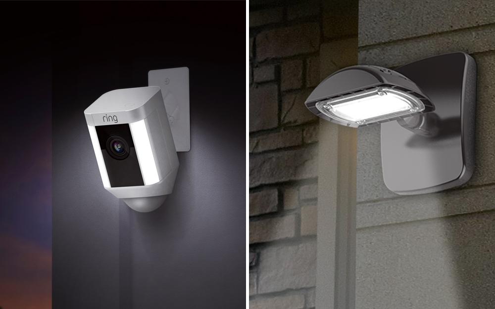 So sánh song song của hai loại đèn an ninh khác nhau.