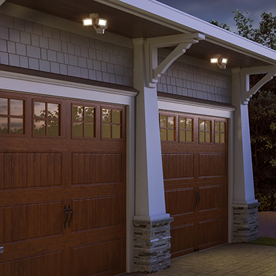 a garage with spotlights