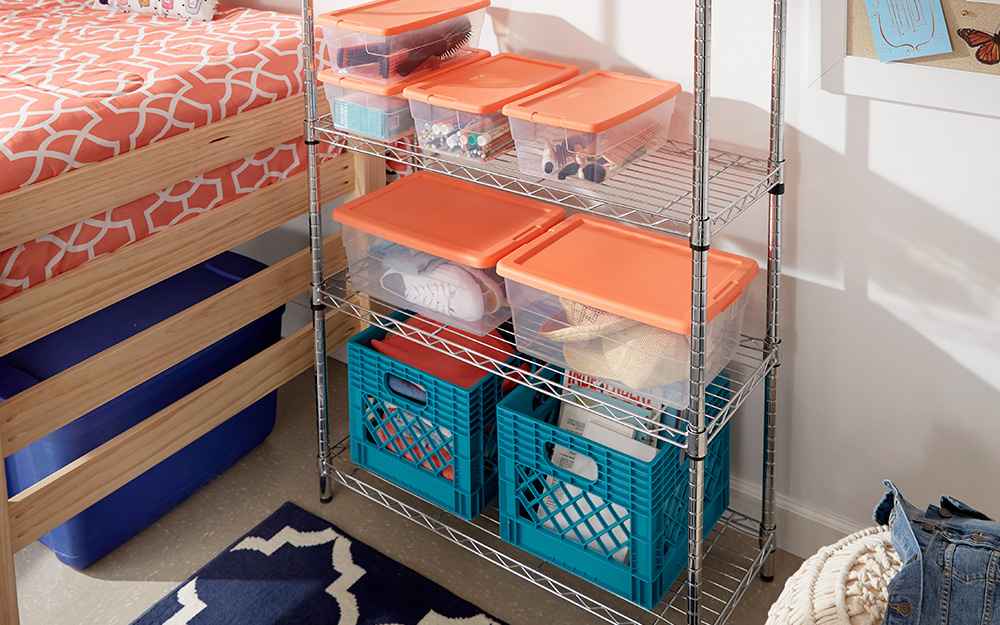 storage totes and crates on a shelf organizer
