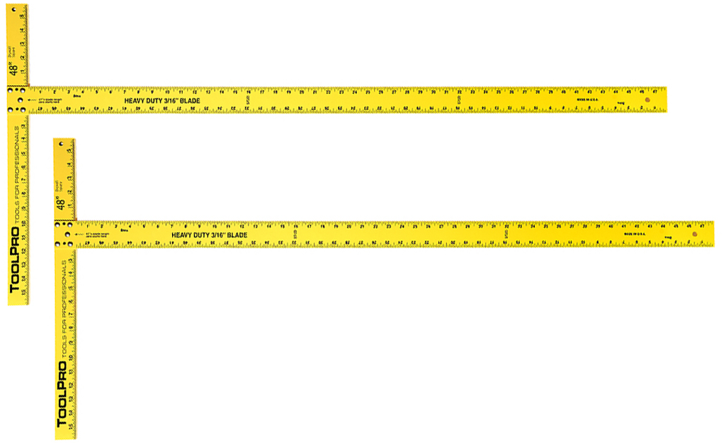 Yellow dry wall T-squares, which are T-shaped tools to measure angles, are shown on a white background.