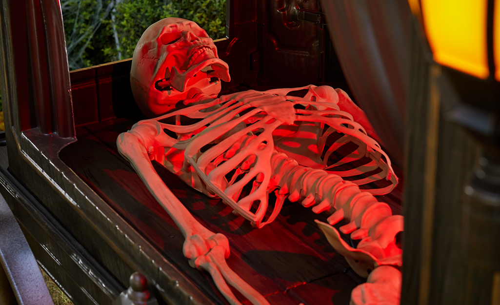 A spooky skeleton lies in a scary trunk or treat trunk.