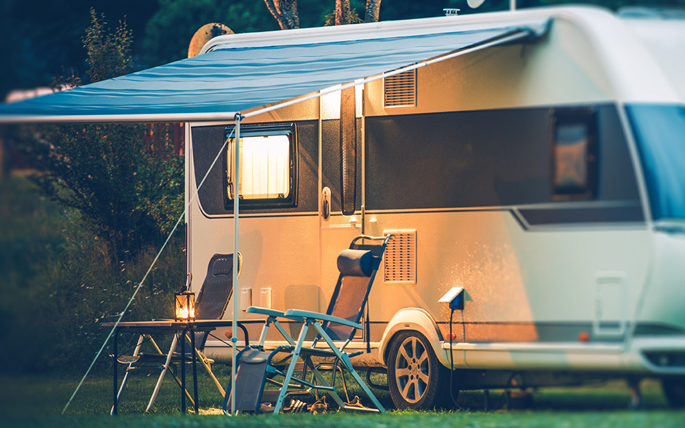 an awning on the side of an RV