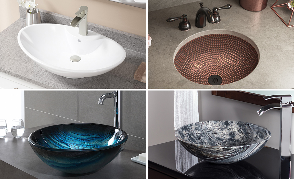 A grid showing sinks made of different materials, including porcelain, metal, glass and simulated natural stone.