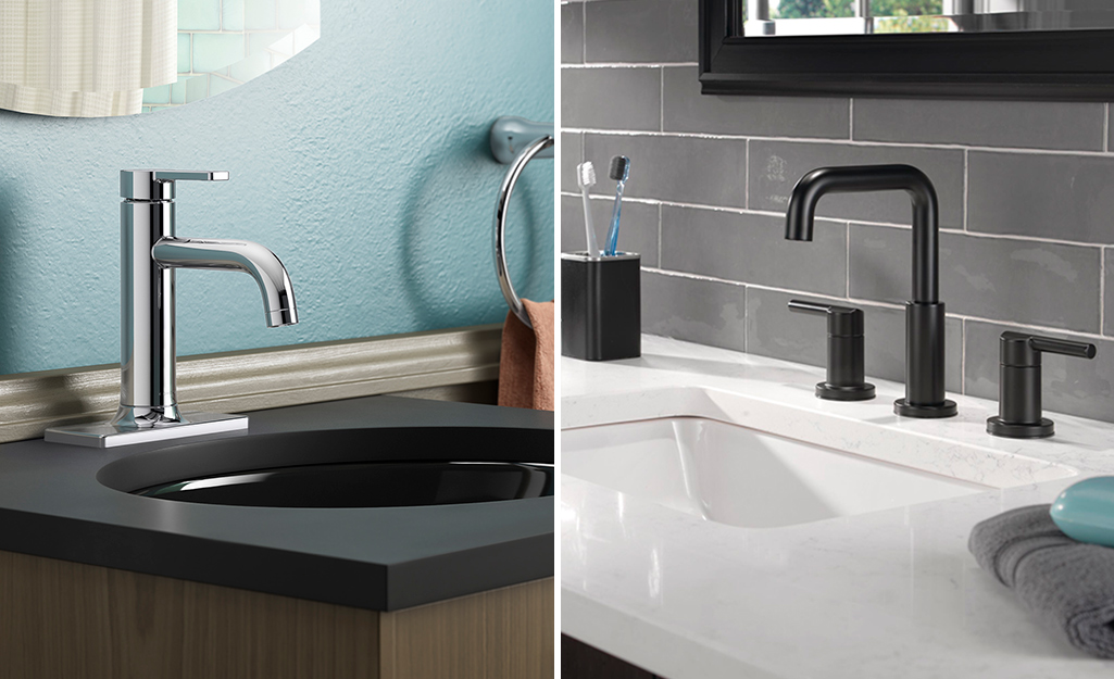 Two side by side images of bathroom sinks with different faucet types.