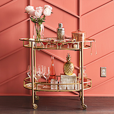 bar cart and barware